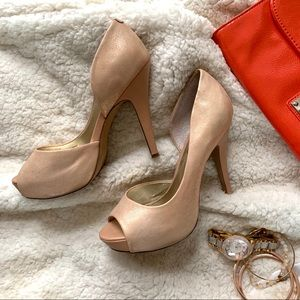 Peep toe shimmer fabric stiletto heels